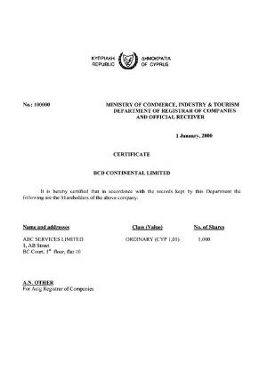 Cyprus Certificate of Shareholder Capital