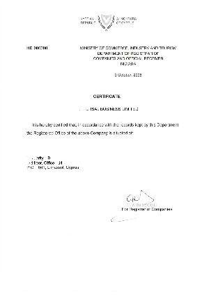 Cyprus Certificate of Registered Address