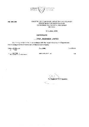Cyprus Certificate of Shareholders
