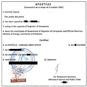 apostille on Certificate of Solvency or non-bankruptcy