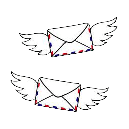 flying envelope with wings
