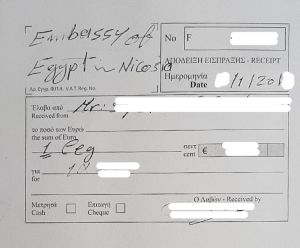 receipt for legalization for Egypt in Cyprus