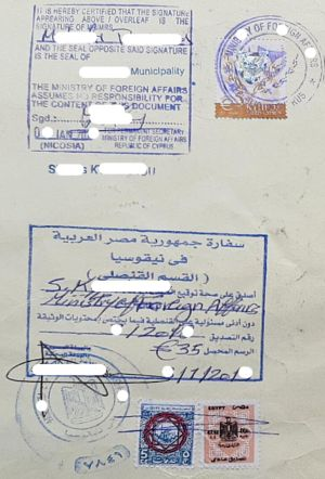 Example legalization for Egypt in Cyprus