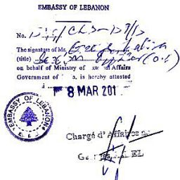 Legalization in the Embassy of Lebanon in the Republic of Cyprus