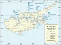 Map of Cyprus with the deployment of peacekeeping forces of the United Nations operation in Cyprus