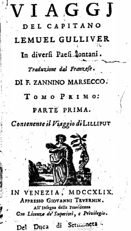 Swift, Jonathan. Viaggj del Capitano Lemuel Gulliver in diversi Paesi lontani. page 2