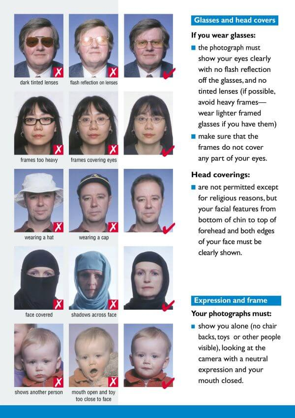 requirements for photo for passport Glasses and head covers Expression and frame