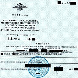 справка о несудимости Россия