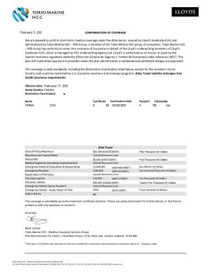sample of travel insurance for visa to Russia
