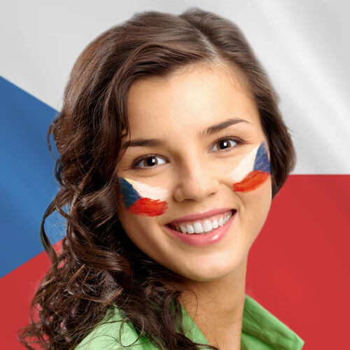 Czech woman face smile with flag