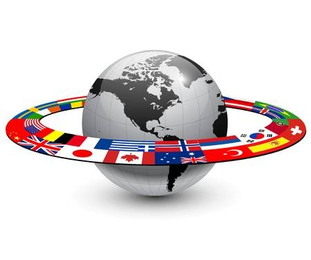 globe with flags in orbit