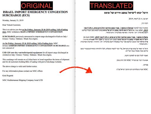 Sample translation English to Hebrew