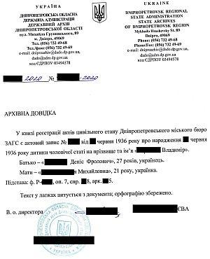 Архивная справка о рождении из Украины с национальность